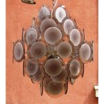 Lampadario a dischi in vetro di Murano