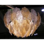 Lampadario a foglie ambra e cristallo in vetro di Murano