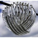Lampadario a triedri curvi in vetro di Murano